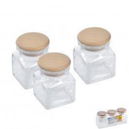 Dóza sklo/dřevo víko 0,12 l 3 ks ORION