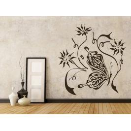 Samolepka na zeď Květiny s motýly 001