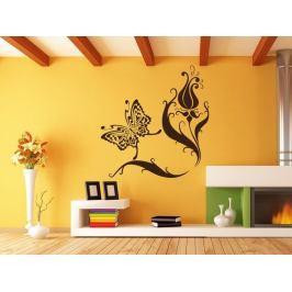Samolepka na zeď Květiny s motýly 007