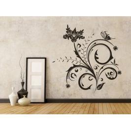 Samolepka na zeď Květiny s motýly 014