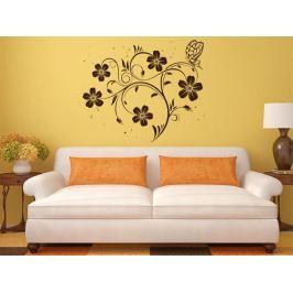 Samolepka na zeď Květiny s motýly 017