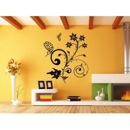 Samolepka na zeď Květiny s motýly 018
