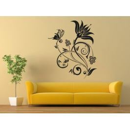 Samolepka na zeď Květiny s motýly 019
