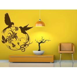 Samolepka na zeď Květiny s ptáky 001