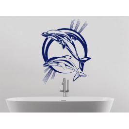Samolepka na zeď Pár delfínů 001