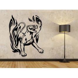 Samolepka na zeď Tygr s plameny 002