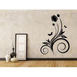 Samolepka na zeď Květiny s motýly 021