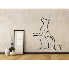 Samolepka na zeď Kočka a pes 0538