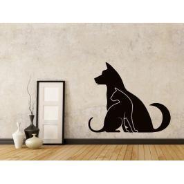 Samolepka na zeď Kočka a pes 0558