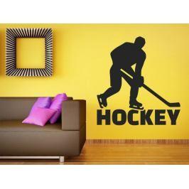 Samolepka na zeď Nápis Hockey s hokejistou 0697