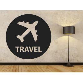Samolepka na zeď Letadlo s nápisem travel 0872