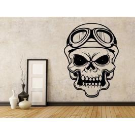 Samolepka na zeď Lebka motorkářská 1029