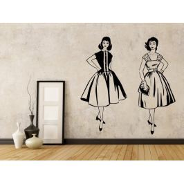 Samolepka na zeď Retro ženy v šatech 1058
