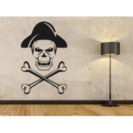 Samolepka na zeď Lebka piráta s kostmi 1169