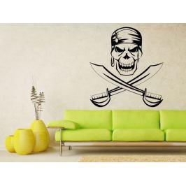 Samolepka na zeď Lebka piráta s meči 1170
