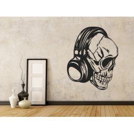 Samolepka na zeď Lebka se sluchátky 1180