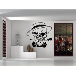 Samolepka na zeď Lebka s růží a kloboukem 1191