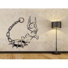 Samolepka na zeď Lebka psa s obojkem 1194