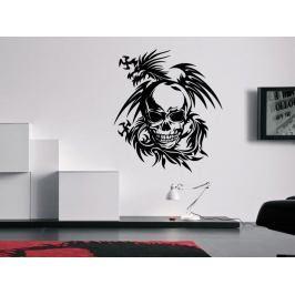 Samolepka na zeď Lebka s drakem 1198