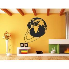 Samolepka na zeď Planeta Země s vlaštovkou 1228