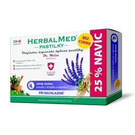 HerbalMed pastilky Dr.Weiss BEZ CUKRU Šalvěj+ženšen+vit.C, 24+6 pastilek