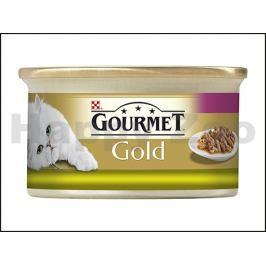 Konzerva GOURMET Gold - králík a játra (kousky masa) 85g