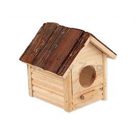Dřevěný domek SMALL ANIMALS Budka s kůrou 12x12x14cm