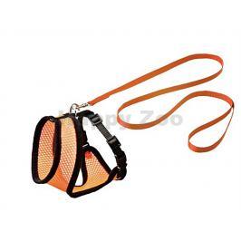 Postroj s vodítkem pro kočku FLAMINGO Harms (M) oranžovočerný 1x