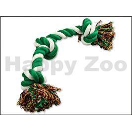 Hračka DOG FANTASY bavlna - uzel zeleno-bílý 40cm (3 uzle)