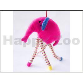 Hračka SALAČ plyš - slon s dlouhýma nohama růžový 35cm