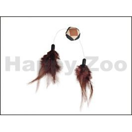 Hračka pro kočky FLAMINGO - Aztec míč s peřím 4cm