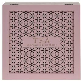 Dřevěný box na čaj Trento, růžová