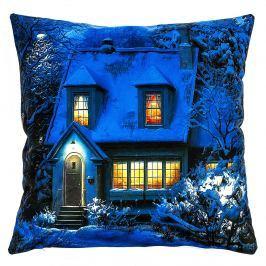 Jahu Svíticí polštářek Zasněžený dům, 40 x 40 cm