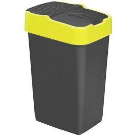 Heidrun Odpadkový koš 60 l, černý se žlutým pruhem