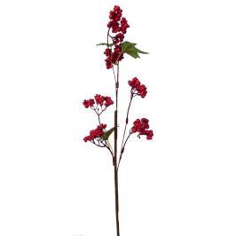 Umělá větvička s bobulkami a lístky 50 cm, červená
