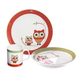Orion 3dílná dětská jídelní sada Sova, porcelán