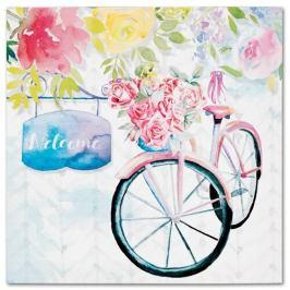 Obraz na plátně Bicycle with roses, 28 x 28 cm