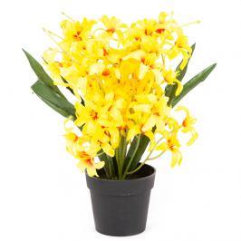 Umělá květina Lilie drobnokvětá v květináči žlutá, 30 cm