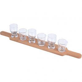 Sada skleniček a dřevěného podnosu, 7 ks
