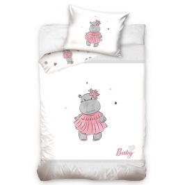 BedTex Dětské bavlněné povlečení do postýlky Hrošík růžová, 100 x 135 cm, 40 x 60 cm