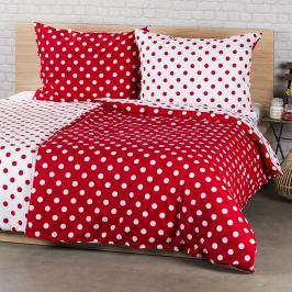 4Home Bavlněné povlečení Červený puntík, 140 x 220 cm, 70 x 90 cm