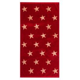 JAHU Ručník Stars červená, 50 x 100 cm