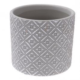 Keramický obal na květináč Ornamental šedá, pr. 13,5 cm