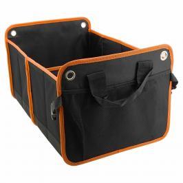 Stylový, skládací organizér do kufru dvojitý,54x34 cm vyztužené stěny černo-oranžový 32x29cm