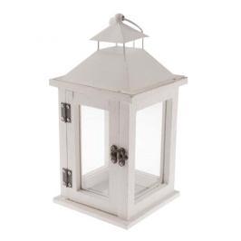 Dřevěná lucerna na čajovou svíčku Vivonne, bílá