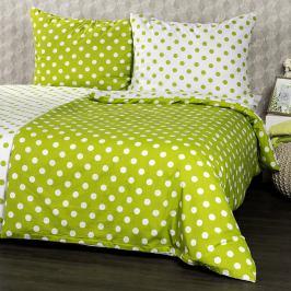 4Home Bavlněné povlečení Zelený puntík, 220 x 200 cm, 2 ks 70 x 90 cm
