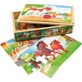Bino dřevo puzzle zvířátka v krabičce