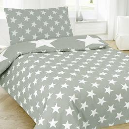Povlečení Stars šedé 140x200 jednolůžko - standard Bavlna/polyester