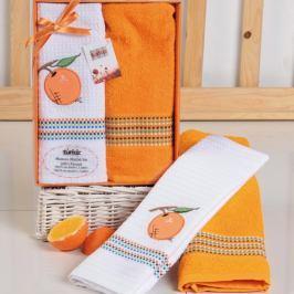 Dárková sada ručníku a utěrky Mimosa pomeranč 50x70 cm bavlna