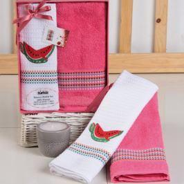 Dárková sada ručníku a utěrky Mimosa meloun 50x70 cm bavlna